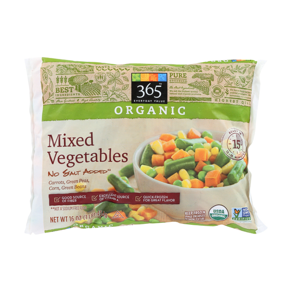 365 everyday value® Organic Mixed Vegetables (Carrots, Green Peas, Corn, Green Beans), 16 oz