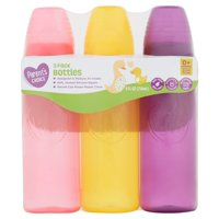 Parent's Choice Baby Bottles, 0+ Months, 9 oz, 3 Count - Colors May Vary