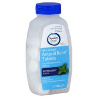 Signature Antacid Relief, Ultra Strength, 1000 mg, Chewable Tablets, Peppermint Flavor
