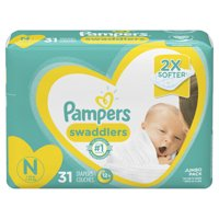 Pampers Swaddlers Soft and Absorbent Diapers, Size N, 31 Ct