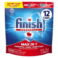 Finish Max in 1 Powerball, 12ct, Wrapper Free Dishwasher Detergent Tablets