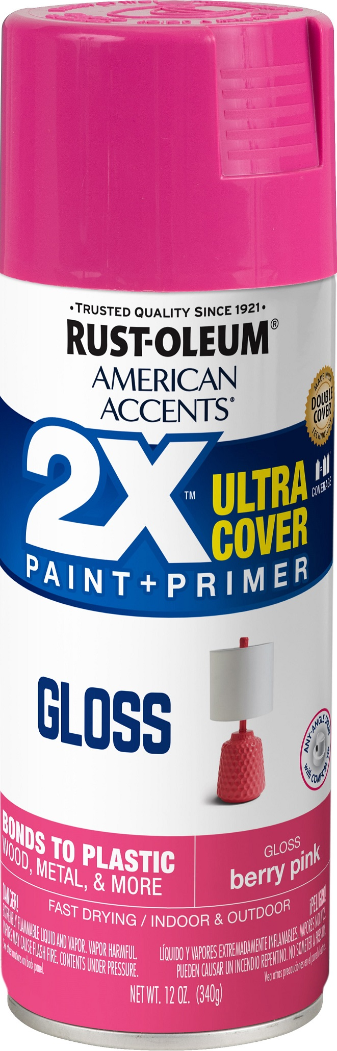 (3 Pack) Rust-Oleum American Accents Ultra Cover 2X Gloss Berry Pink Spray Paint and Primer in 1, 12 oz