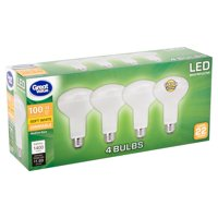 Great Value LED 14 Watts BR30 Reflector Soft White Medium Base Bulbs, 4 count