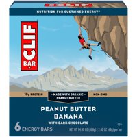 CLIF Bar Energy Bars, Peanut Butter Banana with Dark Chocolate, 10g Protein Bar, 6 Ct, 2.4 oz (Packaging May Vary)