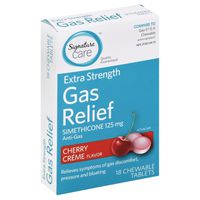 Signature Gas Relief, Extra Strength, 125 mg, Chewable Tablets, Cherry Creme Flavor