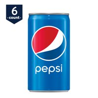 Pepsi Soda Mini Cans, 7.5 oz Cans, 6 Count