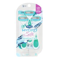 Schick Hydro Silk Razor Disposable Razors for Women with Moisturizing Serum, 3 Count