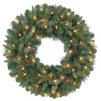 Holiday Time Prelit Green Scottsdale Pine Christmas Wreath, 24 in