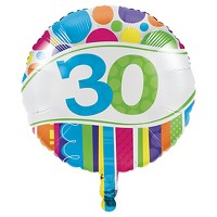 Bright And Bold 30th Birthday Mylar Balloon