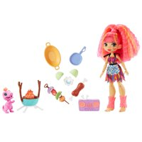 Cave Club Blazin' BBQ Adventure Playset with Emberly Doll (8 - 10-inch), and Dinosaur Pet