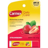 Carmex Daily Care SPF 15 Strawberry Lip Balm Stick, 0.15 Oz.