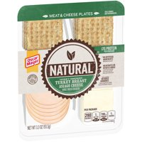 Oscar Mayer Natural Honey Smoked Turkey Breast, Asiago Cheese and Whole Wheat Crackers Meat & Cheese Plates , 3.3 oz Package