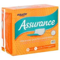 Equate Assurance Maximum Absorbency Unisex Premium Quilted Underpad, L, 18 count