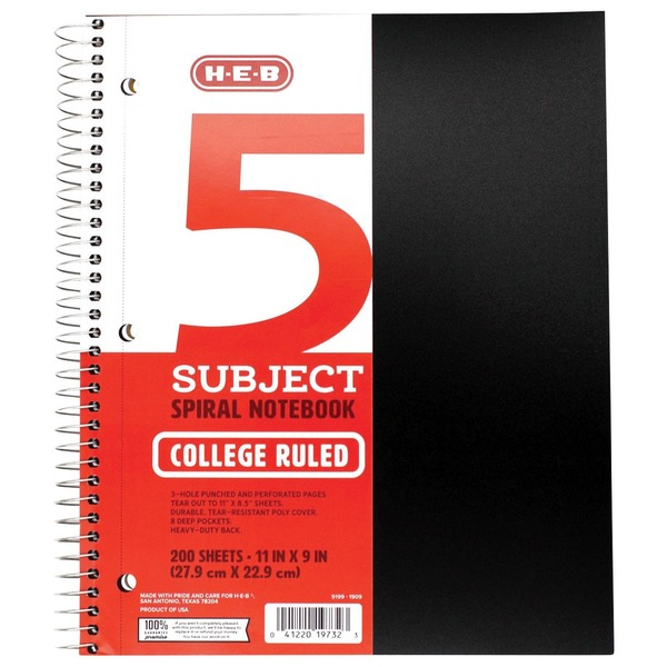 H-E-B Wirebound 5 Subject College Ruled Spiral Black Notebook