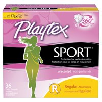 Playtex Sport Plastic Tampons, Unscented, Regular, 36 Ct
