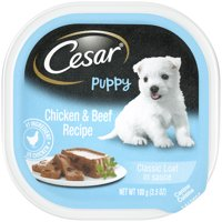 Cesar Puppy Wet Dog Food Classic Loaf in Sauce Chicken & Beef Recipe, 3.5 oz.