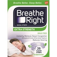 Breathe Right Extra Clear for Sensitive Skin Drug-Free Nasal Strips for Congestion Relief - 26ct
