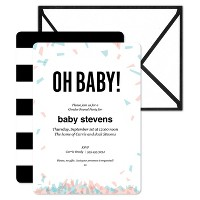 "12ct ""Oh Baby"" Gender Reveal Party Print-on Invitations"