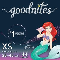 GoodNites Bedtime Bedwetting Underwear for Girls, Size XS, 44 Count