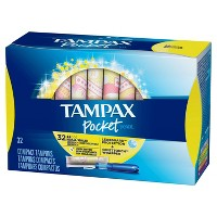 Tampax Pocket Pearl Regular Absorbency Unscented Plastic Tampons - 32ct