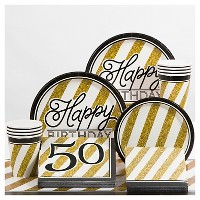 Black and Gold 50th Birthday Party Supplies Collection