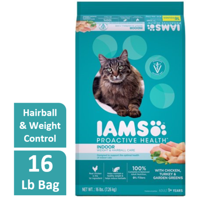 Iams ProActive Health Adult Indoor Weight & Hairball Care with Chicken, Turkey, and Garden Greens Dry Cat Food, 16 lb