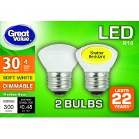 Great Value LED Light Bulb, 4W (30W Equivalent) R14 Lamp E26 Medium Base, Dimmable, Soft White, 2-Pack