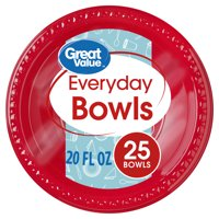 Great Value Everyday Bowls, Red, 25 Count