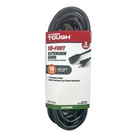 Hyper Tough 10FT 16AWG 3 Prong Black Outdoor Single Outlet Extension Cord