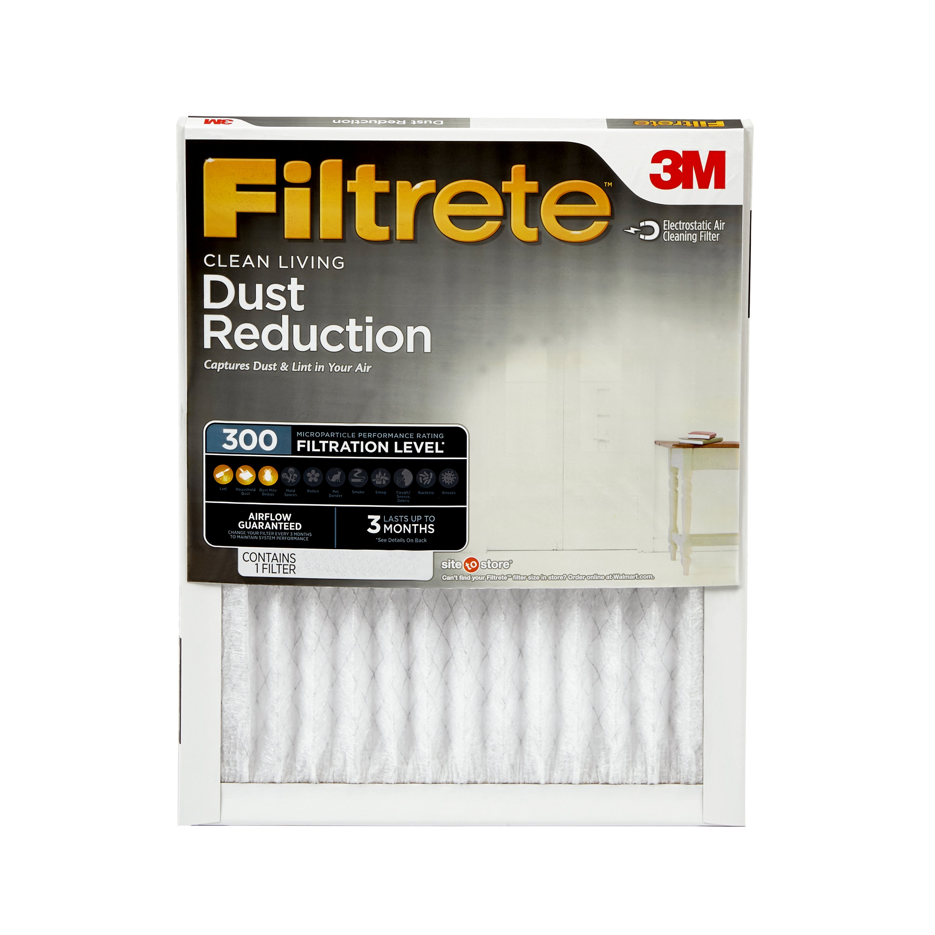 Filtrete 20x30x1, Clean Living Dust Reduction HVAC Furnace Air Filter, 300 MPR, 1 Filter