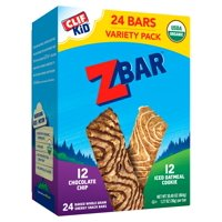 CLIF Kid Zbar Organic Granola Bars,Variety Pack, Kids Snacks, Chocolate Chip, Iced Oatmeal Cookie, 24 Ct, 1.27 oz
