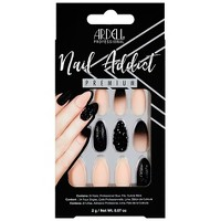 Ardell Nail Addict False Nails Black Stud & Pink Ombre - 24ct