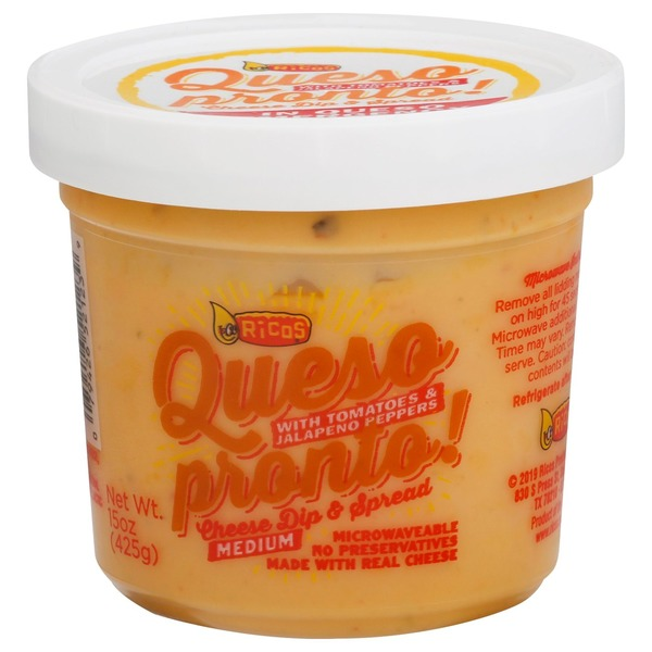 Ricos Cheese Dip & Spread, with Tomatoes & Jalapeno Peppers, Queso Pronto, Medium