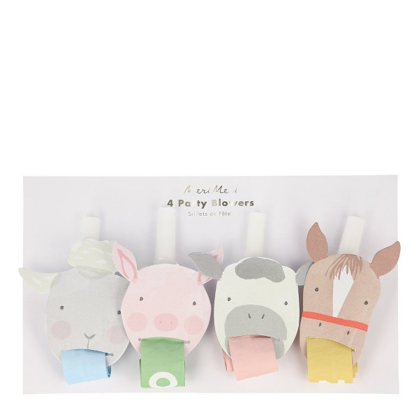 Meri Meri - On the Farm Party Blowers - Party Favors - 1ct