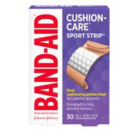 Band-Aid Brand Cushion Care Sport Strip Adhesive Bandages, 30 ct