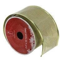 """Northlight Club Pack of 12 Shimmery Gold Wired Christmas Craft Ribbon Spools 2.5"""" x 120 Yards"""