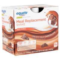 Equate Creamy Milk Chocolate Meal Replacement Shake, 11 fl oz, 6 count