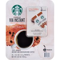 Starbucks Via Instant Colombian Medium Roast Coffee, 26 x 0.11 oz