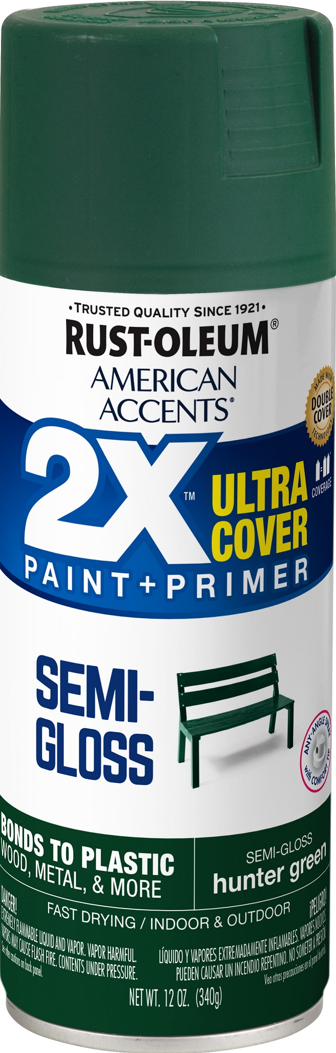 (3 Pack) Rust-Oleum American Accents Ultra Cover 2X Semi-Gloss Hunter Green Spray Paint and Primer in 1, 12 oz