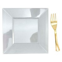 10ct Clear Mini Plates And Gold Mini Forks - Spritz™