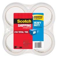 Scotch Heavy Duty Shipping Packaging Tape 4 Pack, 54.6 yd. per Roll