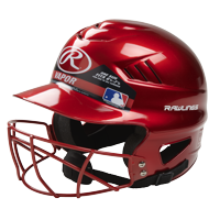 Rawlings Coolflo Baseball Helmet with Face Guard, Scarlet