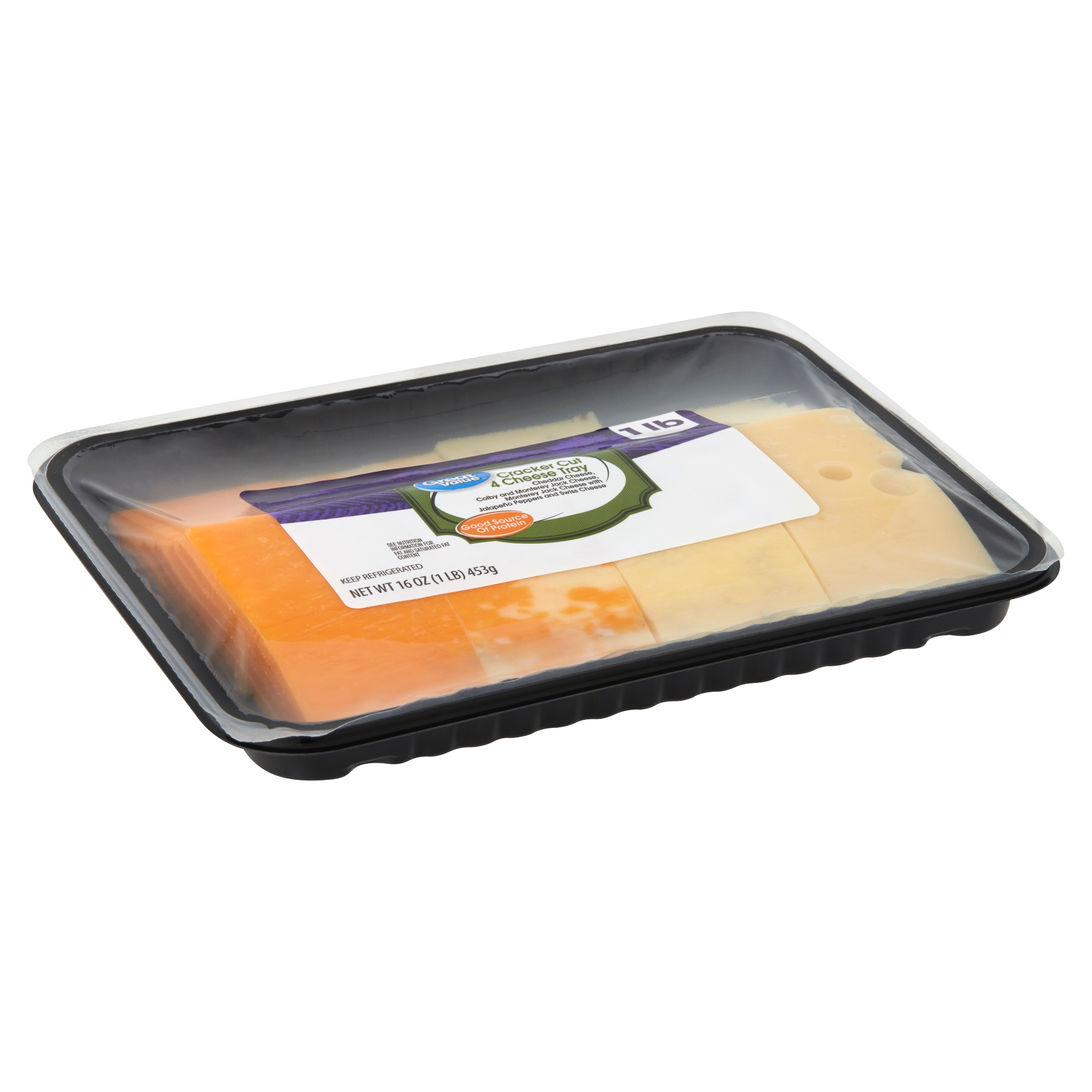 Great Value Cracker Cut 4 Cheese Tray, 16 oz