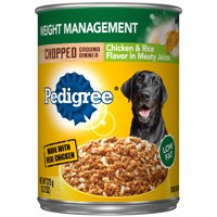 Pedigree Chopped Ground Dinner Weight Management Chicken & Rice Flavor Adult Canned Wet Dog Food, 13.2 oz. Can