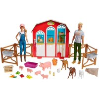 Barbie Sweet Orchard Farm Barn Playset With Barbie And Ken Dolls, Barn With Fence And 11 Animals