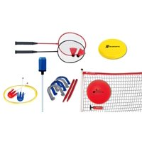 MD Sports 6 In 1 Backyard Game Combo Set - Volleyball, Badminton, Horseshoes, Disc Toss, Lawn Darts and Bottle Strike