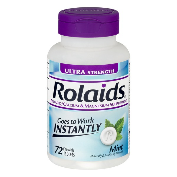 Rolaids Antacid/Calcium & Magnesium Supplement Chewable Tablets Ultra Strength Mint - 72 CT