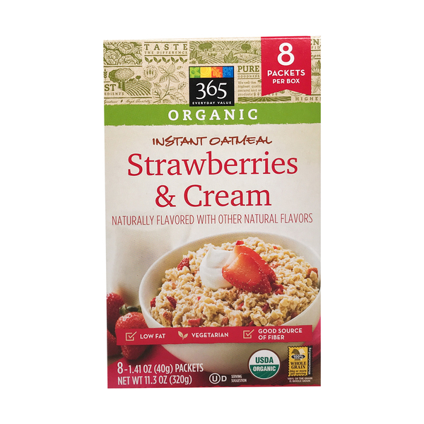 365 everyday value® Organic Strawberries And Cream Instant Oatmeal 8 Pack, 11.3 oz