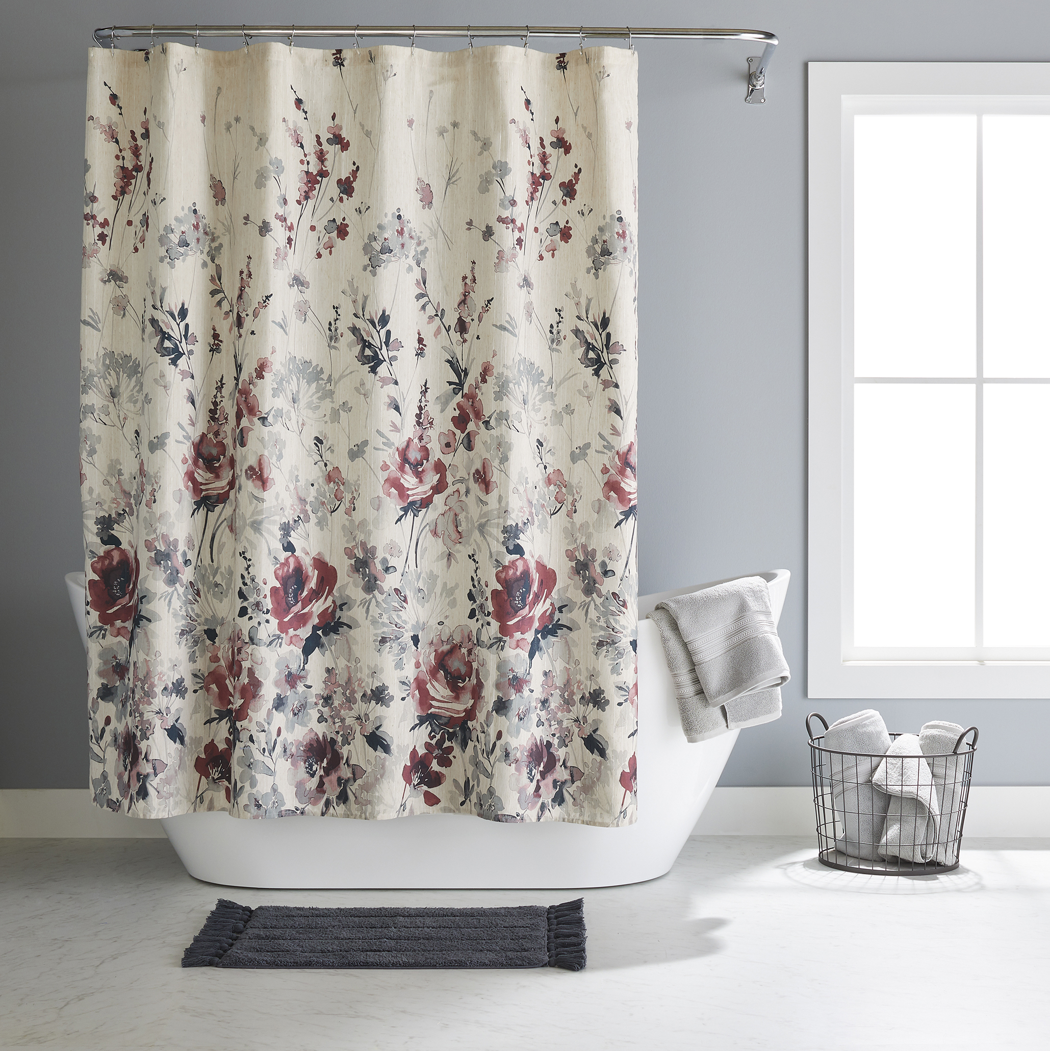 Better Homes and Gardens Floral Fringe 14 Piece Shower Curtain Set