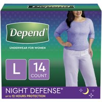 Depend Night Defense Incontinence Underwear for Women, Overnight, Large, Light Pink, 14 Count